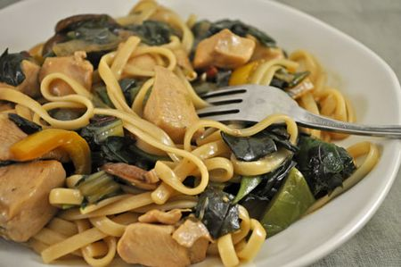 Chicken and Chard Lo Mein