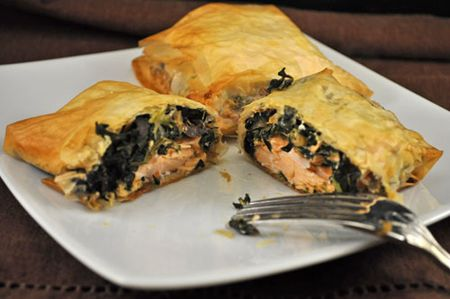 Salmon and Spinach in Phyllo