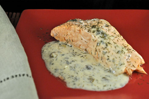 Oven Poached Salmon With Dill And Caper Sauce