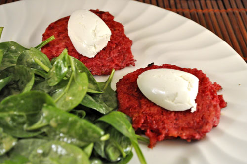 Red Beet Cakes wih Spinach Salad