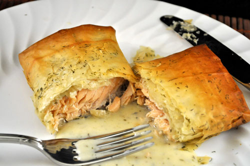 Salmon Baked in Phyllo with Tarragon Cream Sauce
