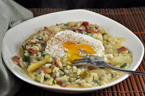 Spring Risotto with Poached Egg